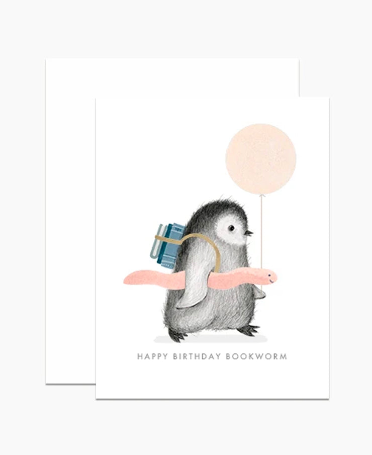 bookworm penguin birthday card