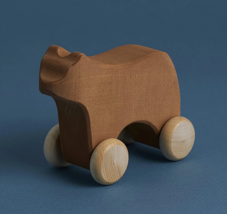 rolling bear wood toy