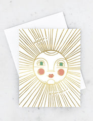birthday sun gold foil card