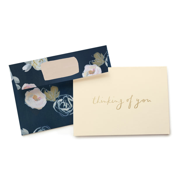 blue florals thinking of you card - single or set of 6