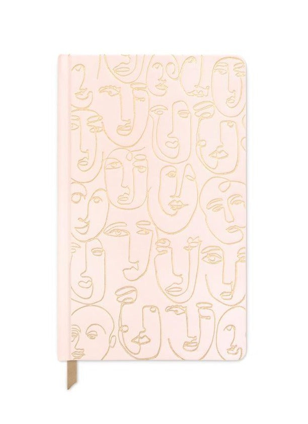 blush pink faces - bookcloth cover book bound, 5.75 x 8.125