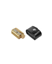 adjustable brass sharpener w/ black faux leather case