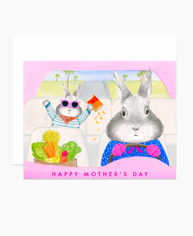 bunny driving mother's day card