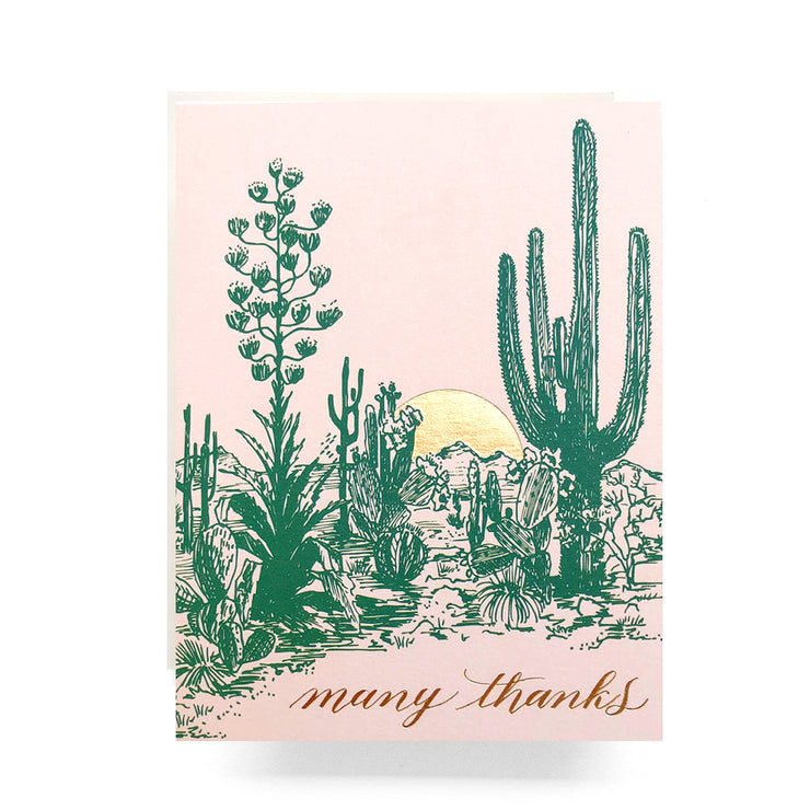 cactus sunset thank you card
