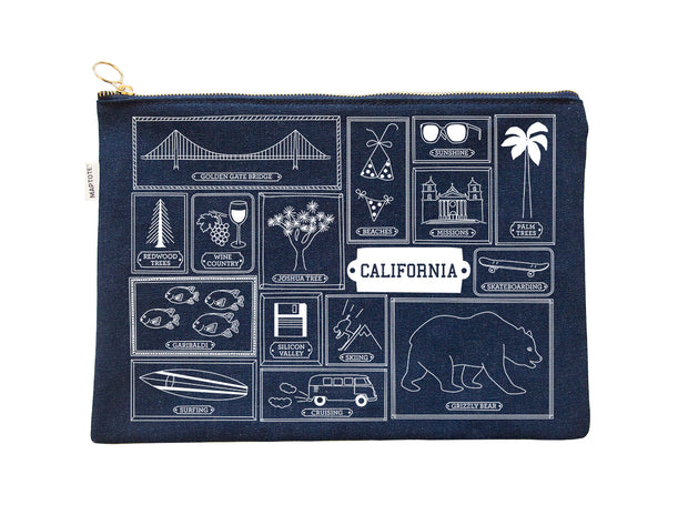 california flat pouch - denim or natural canvas