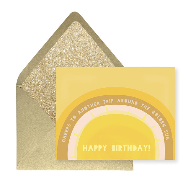 birthday sun card with gold glitter envelope