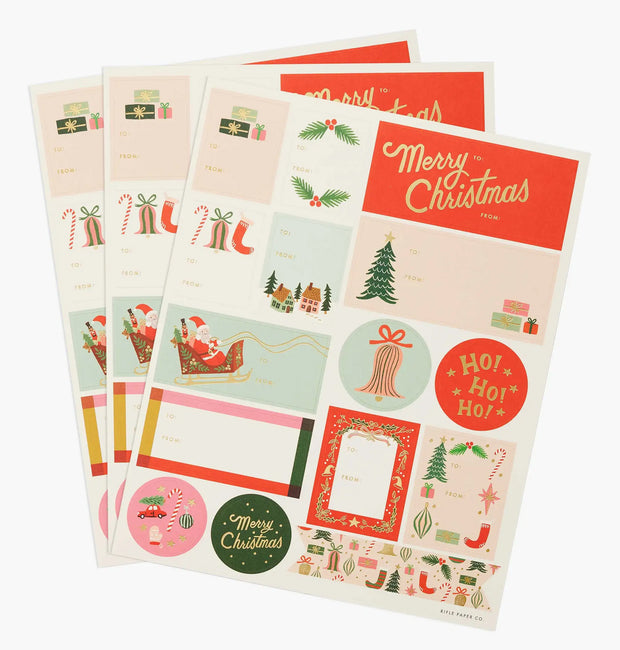 deck the halls stickers & labels - set of 3 sheets