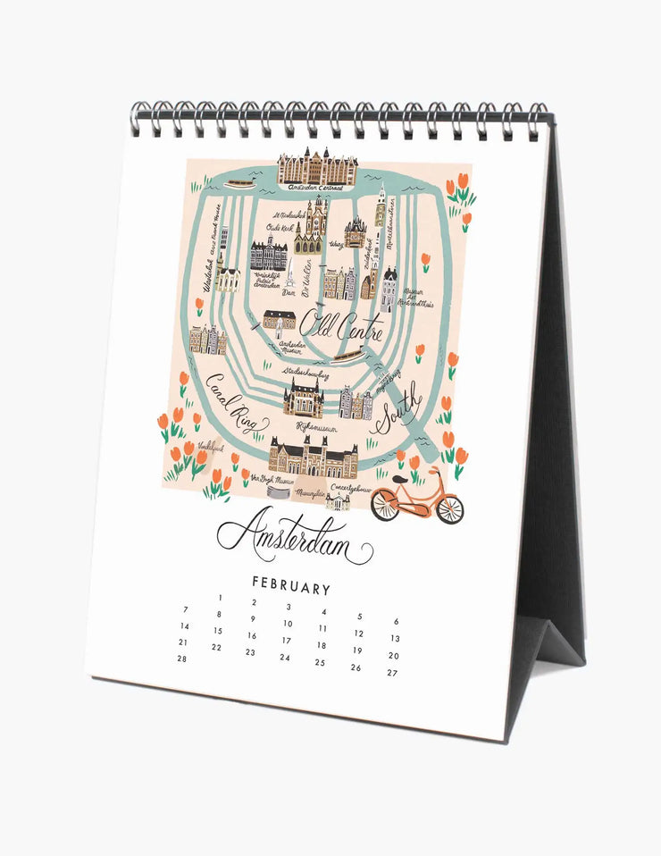 2021 city maps desk calendar