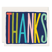 colorful thanks card - single or set of 6