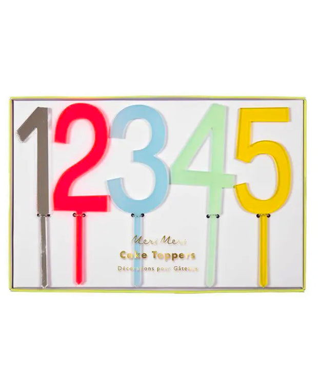 multicoloured number cake toppers