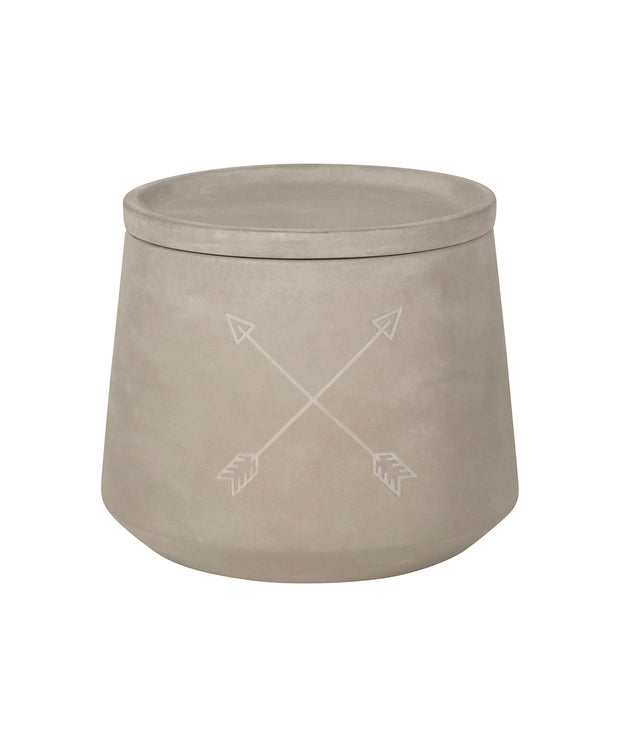 concrete lidded canister - arrows design