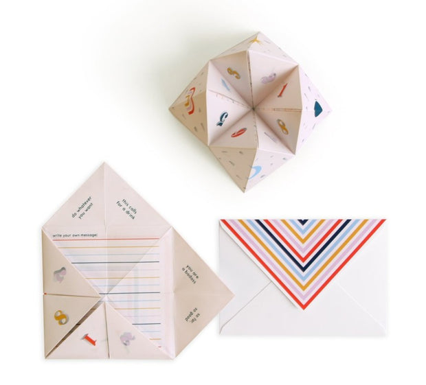 cootie catcher pop-up friendship card