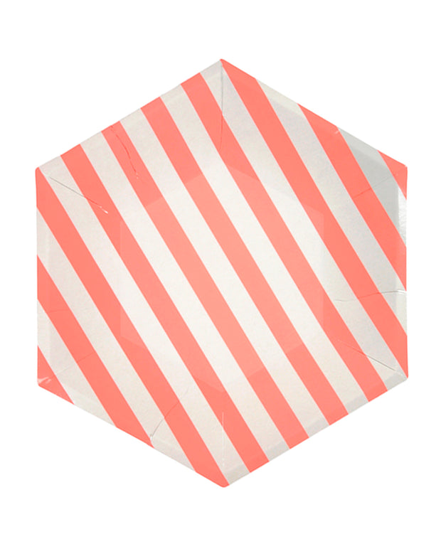 coral stripe large paper plates - set of 12