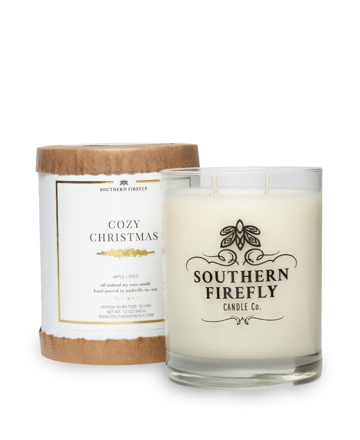 cozy christmas 10oz white frosted glass candle