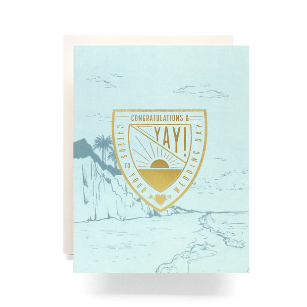 crest wedding wishes card