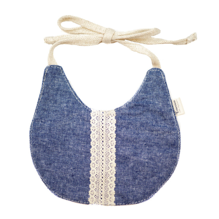 denim and lace baby bib