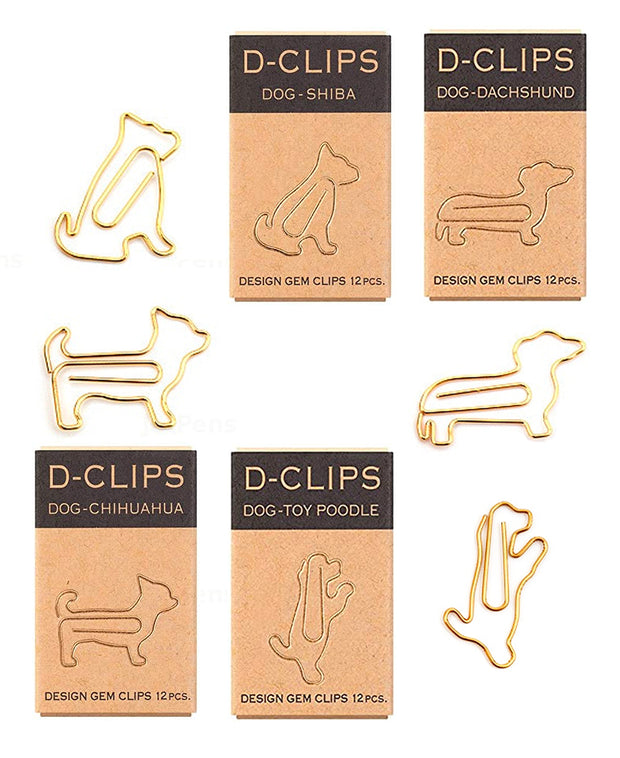 dog shaped gold d-clips