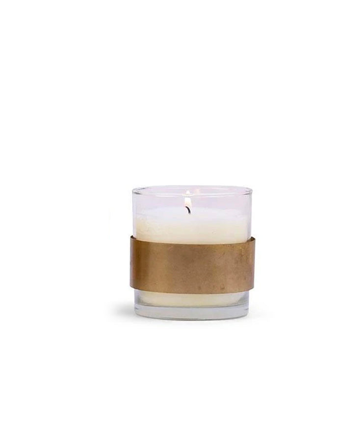 violet and vanilla dwell glass + brass 8oz candle