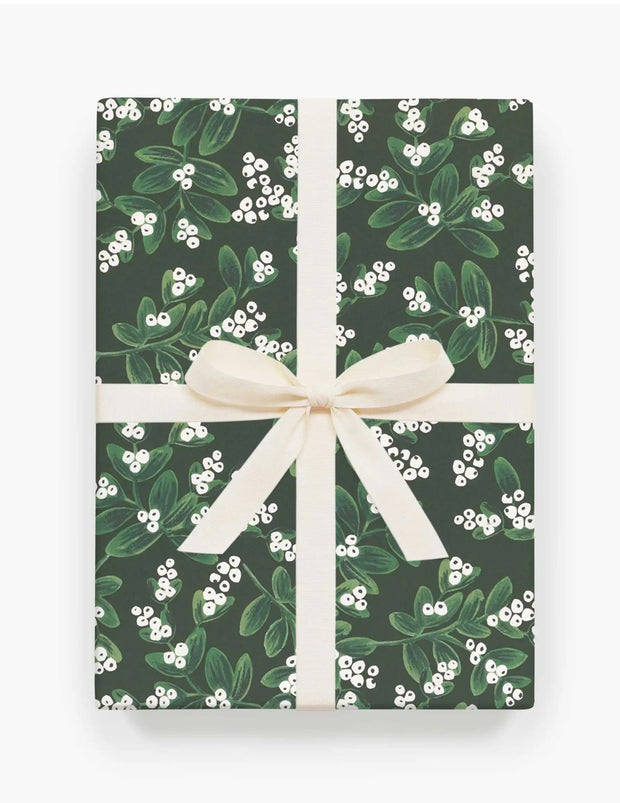 evergreen mistletoe wrapping paper - single sheet or set of 3 sheets