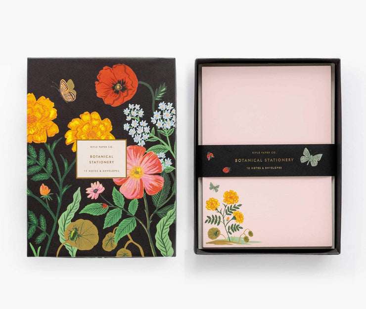 botanical social stationery set