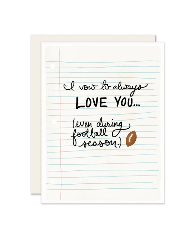 football season vow card
