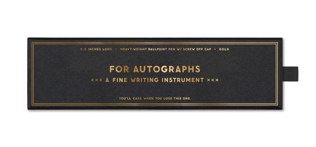 "gold pen ""for autographs"" in gift box"