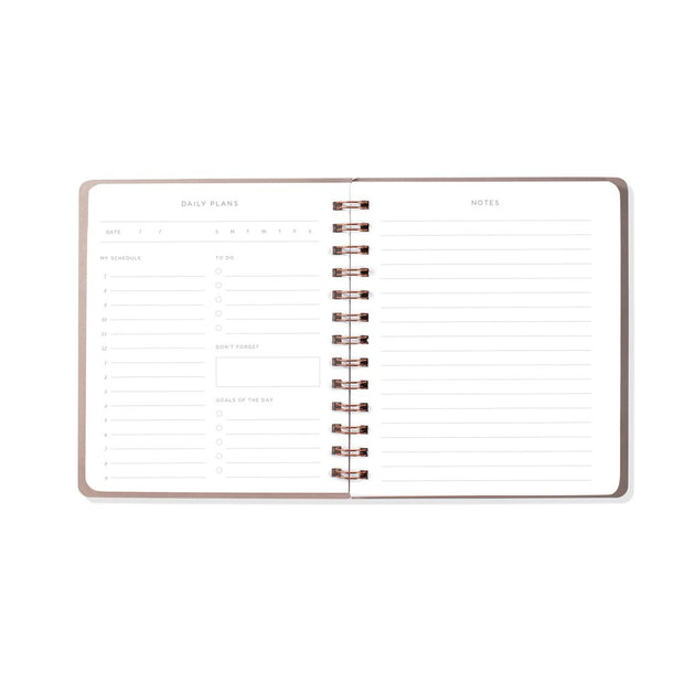 black faux leather undated day planner