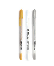 gelly roll pens - white, silver and gold
