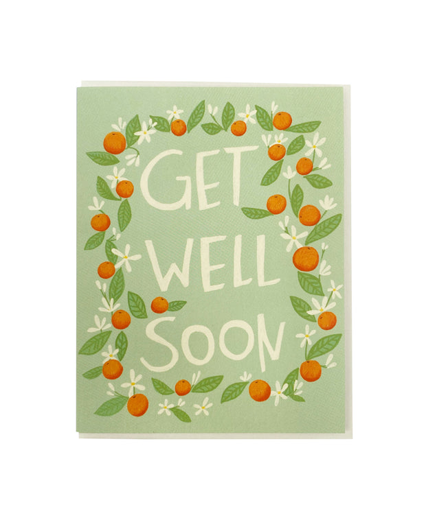 get well orange blossoms card