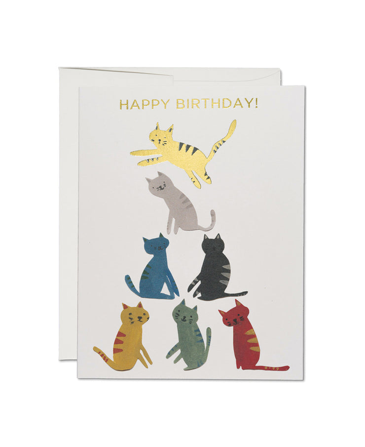 gold kitty foil birthday card