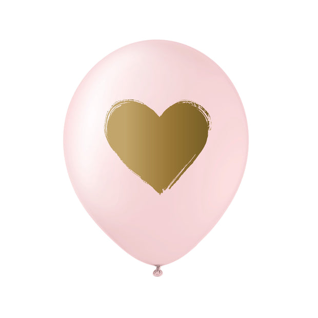 pink gold heart balloon - box of 12