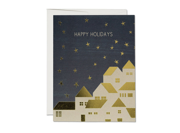 gold houses holiday card