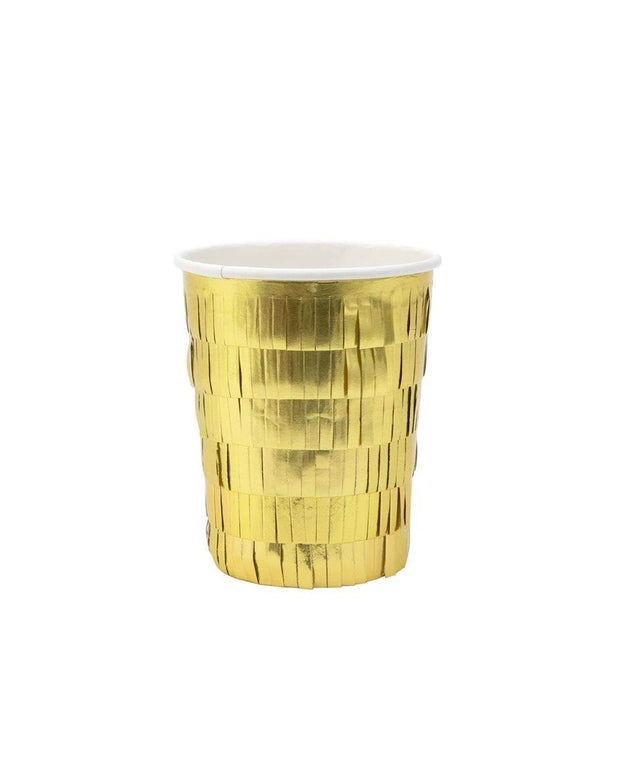 gold fringe paper party cups