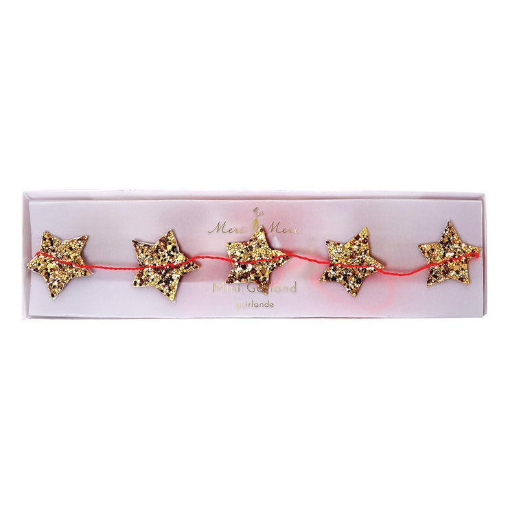 gold glitter mini stars garland