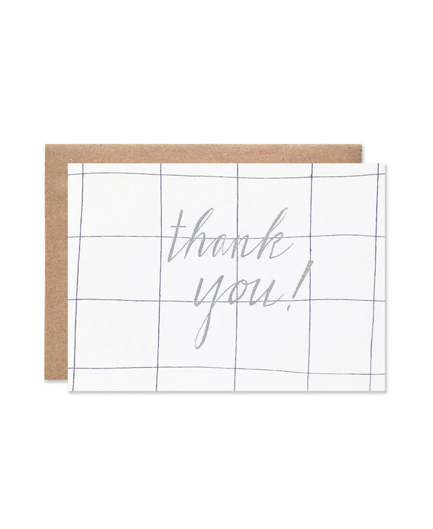 grid silver foil thank you card
