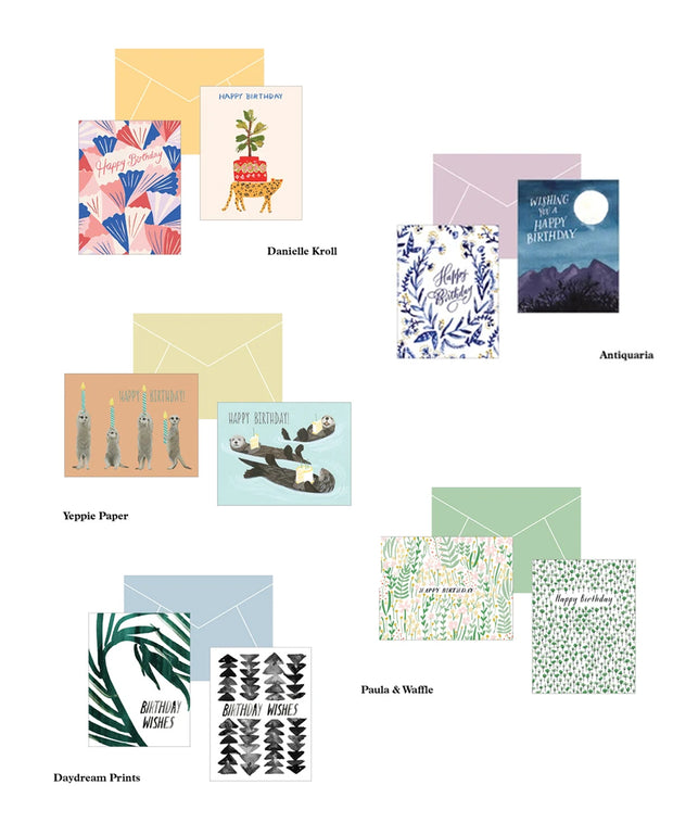 birthday cards by 5 artists - set of 20