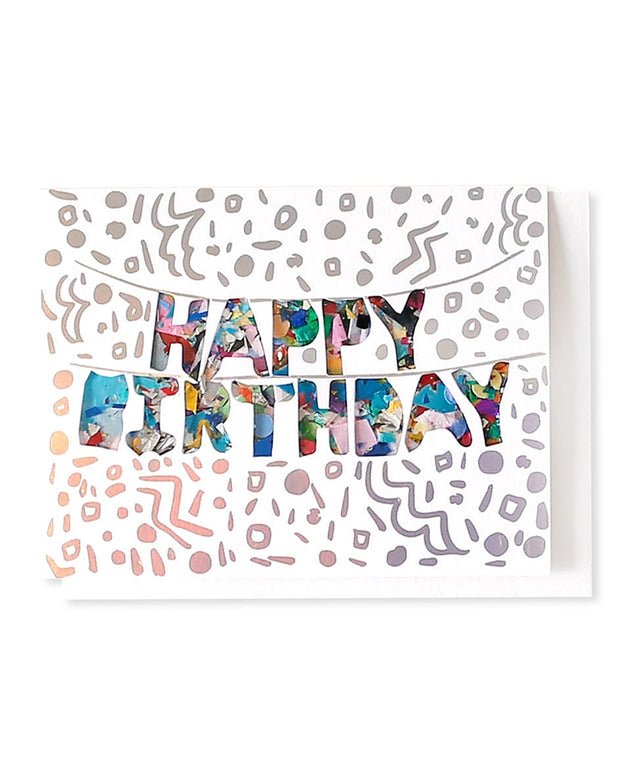 HBD balloons confetti-filled & holographic foil stamped card