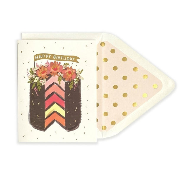 chocolate layered cake with flowers card