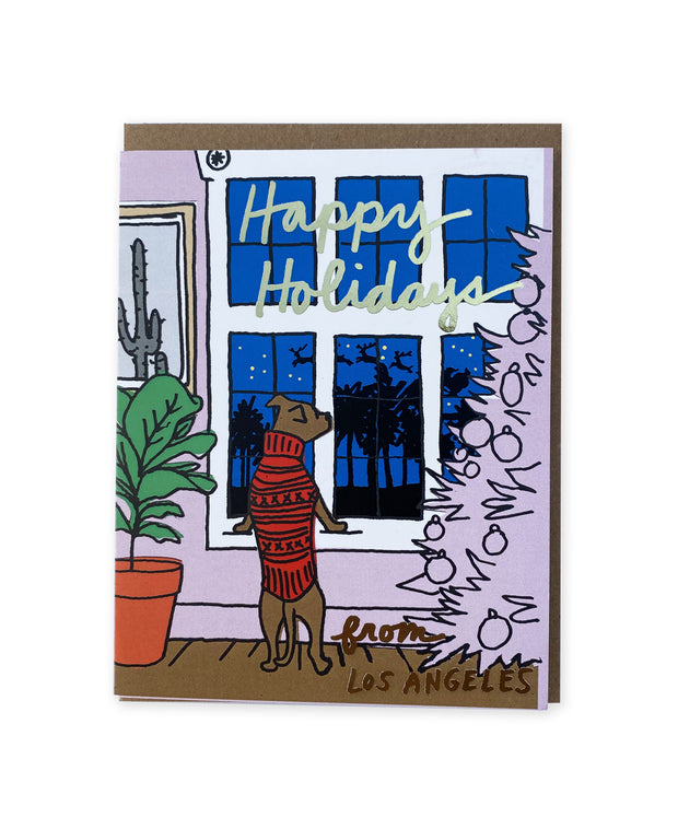 california dog window holiday card