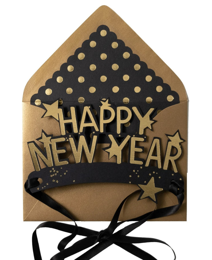 new year wearable black & gold crown card