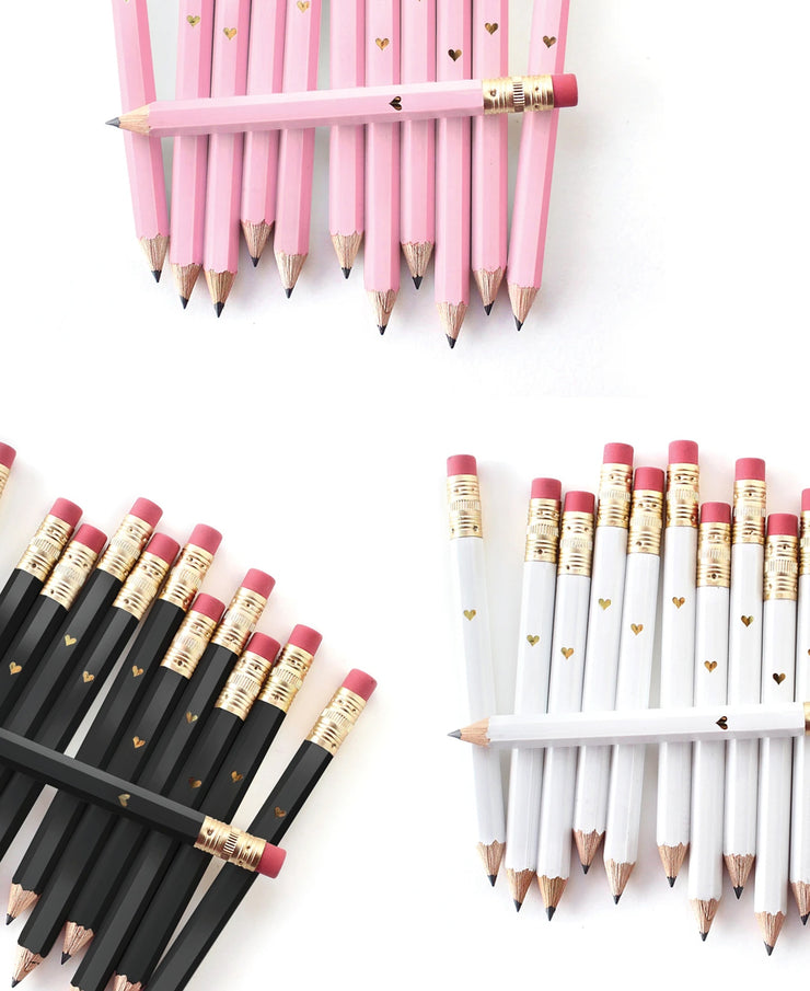 gold heart mini pencils - white, pink, or black