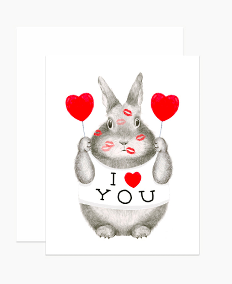 i heart you bunny card