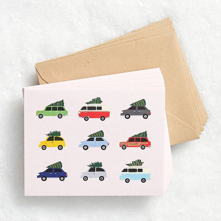 vintage holiday cars card - set of 10