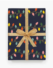 holiday lights wrapping paper - single sheet or roll of 3 sheets