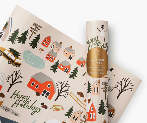 holiday tree farm wrapping paper - single sheet or set of 3 sheets