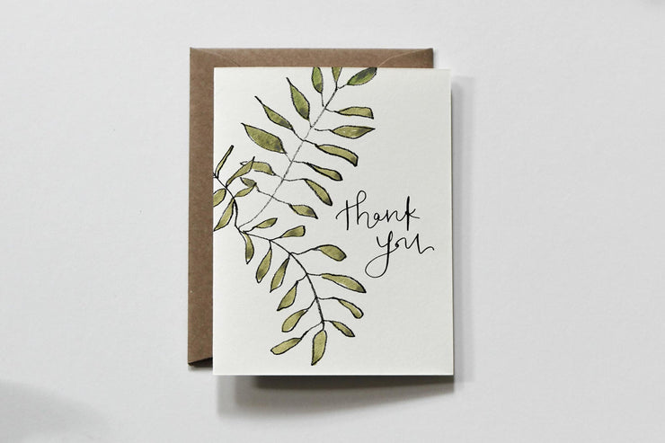 basic greens thank you card