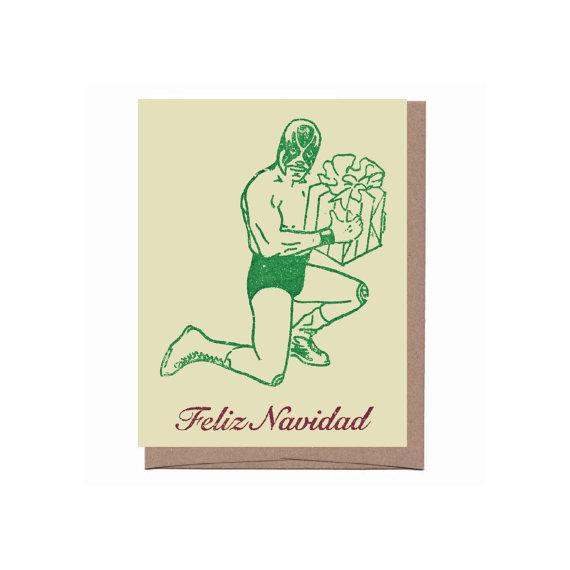 holiday luchador card - single or set of 8