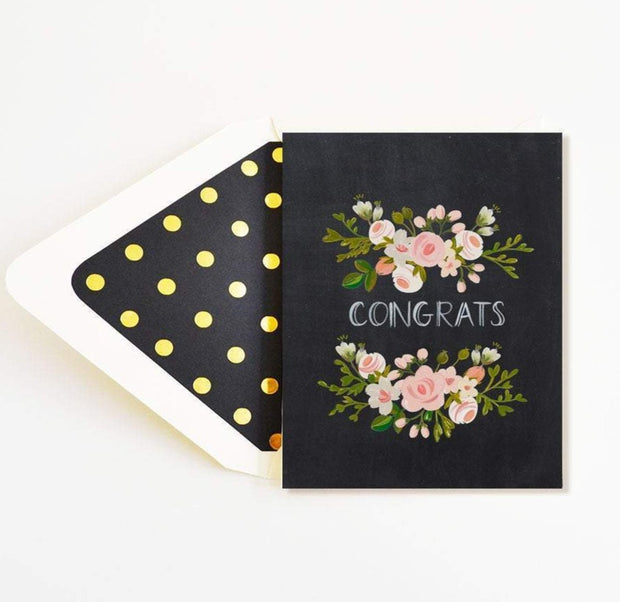 congrats charcoal & blush floral card