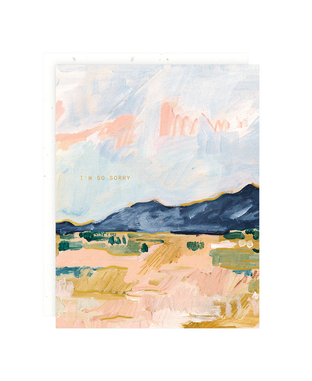blue desert mountains sympathy card