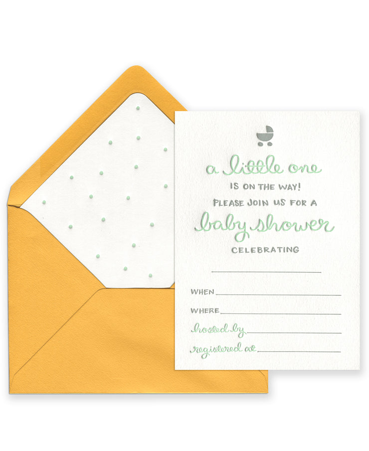 a little one baby shower invitations - set of 8